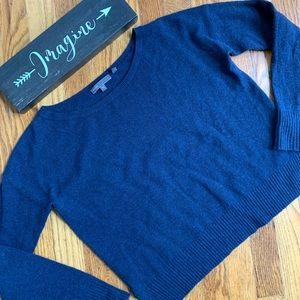Vince blue cropped cashmere wool sweater